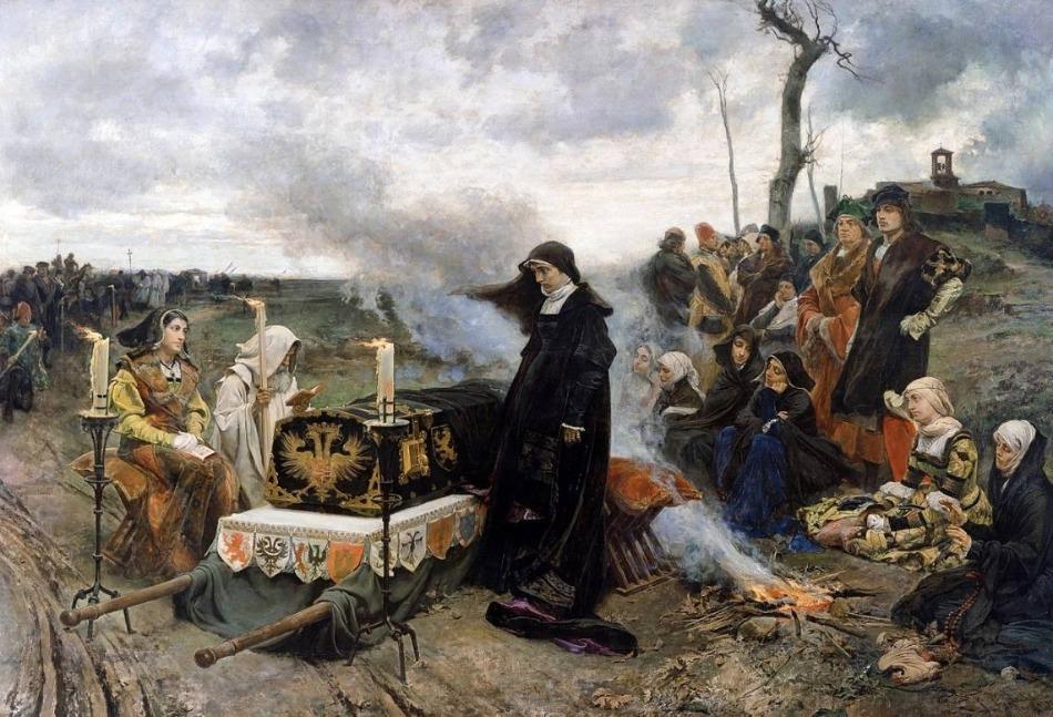 Johanna met de lijkkist van haar man Filips de Schone -Francisco Pradilla y Ortiz, ca. 1877