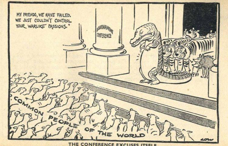 Karikatuur van David Low over het einde van de Wereld Ontwapeningsconferentie, 1937