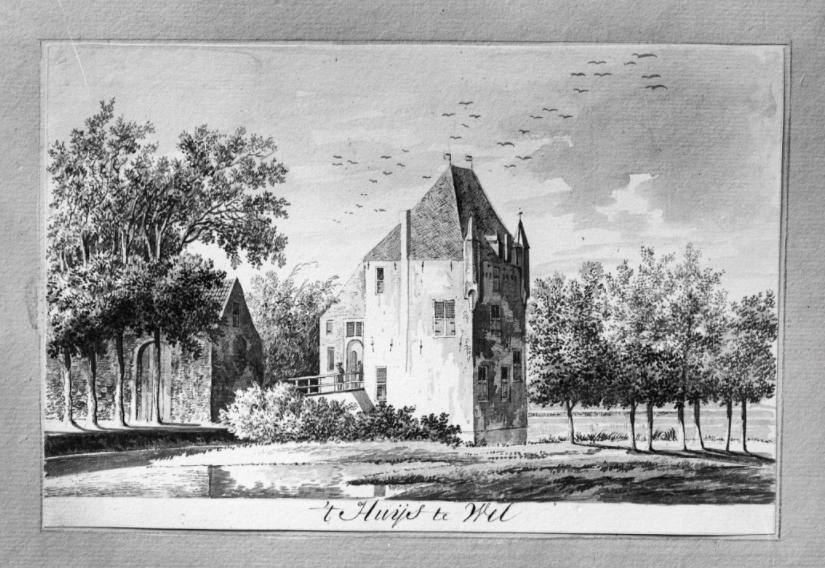 Oude tekening van het 'Huijs te Wel' - W. Tavernier, 1786