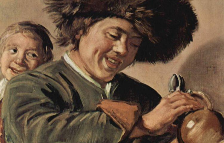 Detail van 'Twee lachende jongens met bierkruik' van Frans Hals