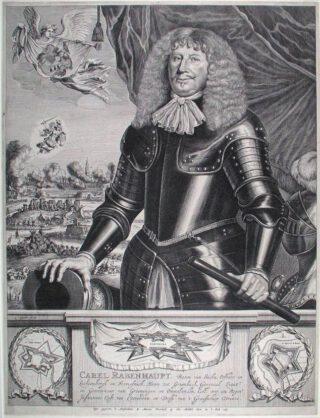 Carl von Rabenhaupt op een gravure van Lambert Visscher, 1673