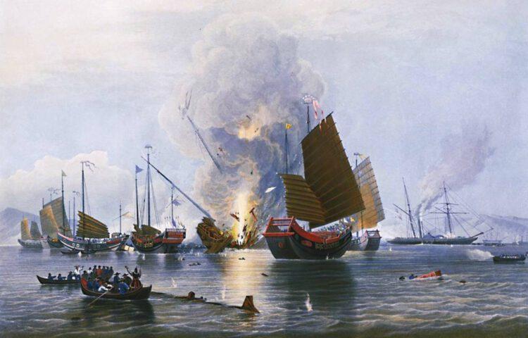 Het Britse stoomschip Nemesis vernietigt enkele Chinese jonken tijdens de Eerste Opiumoorlog – Edward Duncan, 1843