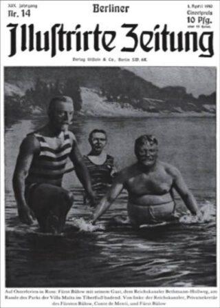 Voorpagina van Berliner Illustrirte met badende Theobald von Bethmann Hollweg'