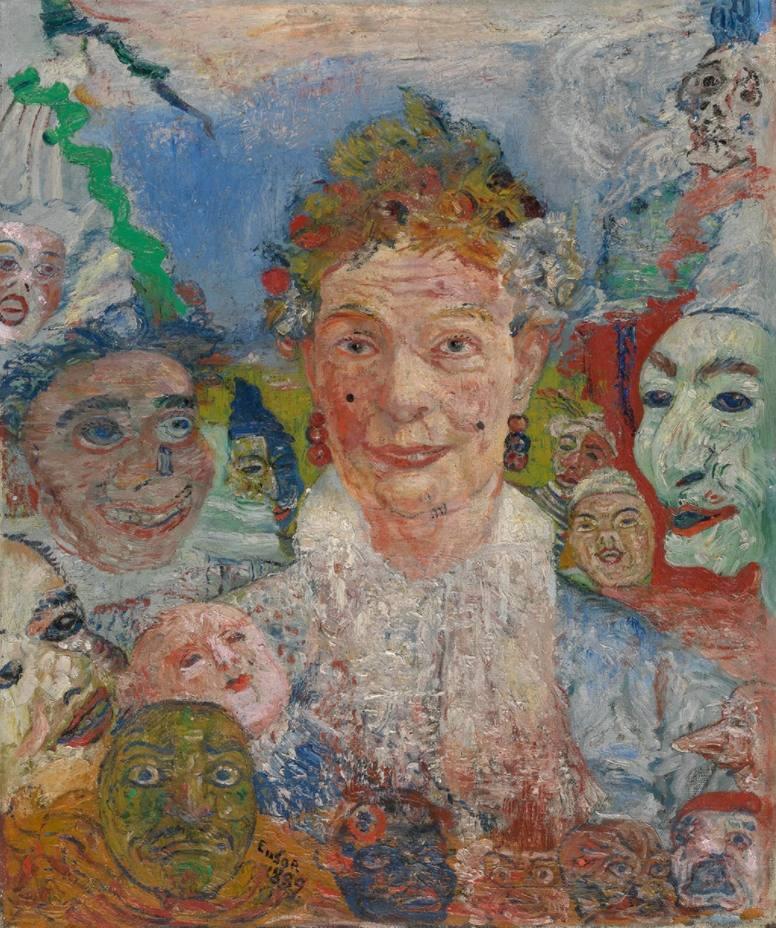 Oude dame met maskers 1889 - James Ensor