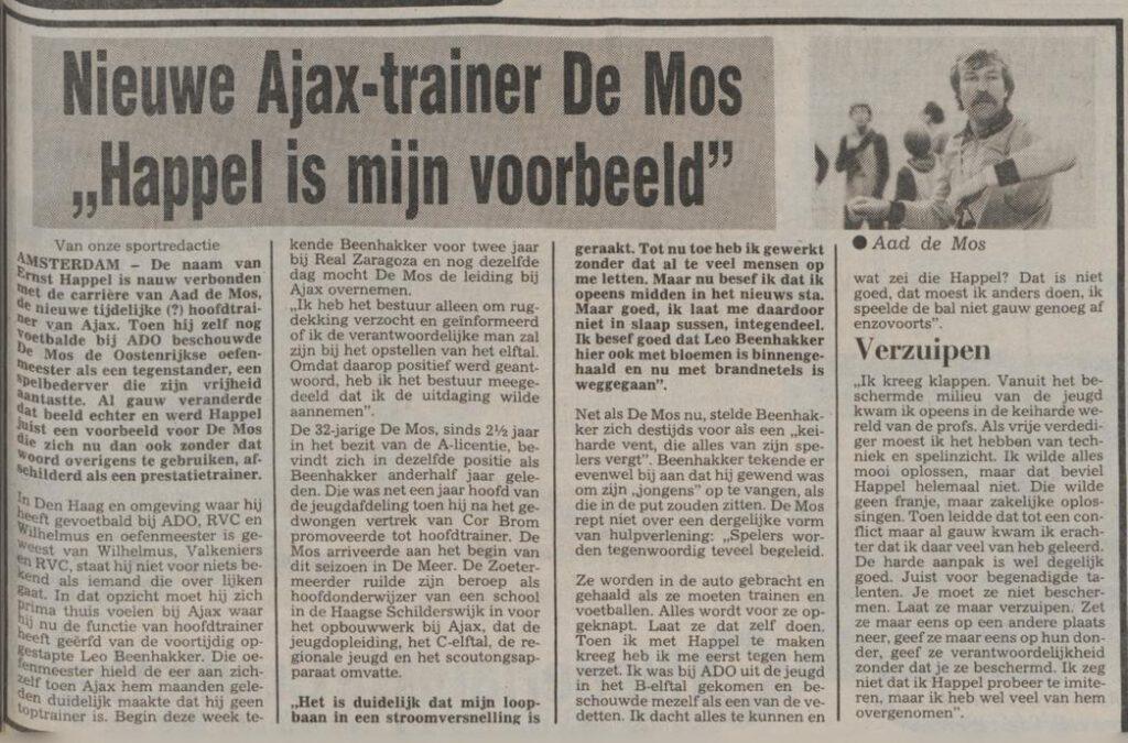 Bericht in het Limburgsch dagblad van 13-03-1981 over de komst van Aad de Mos naar Ajax