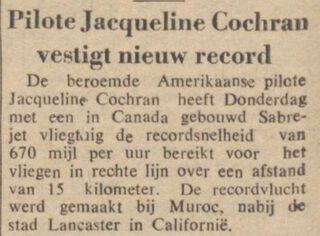 Bericht over een record van Jacqueline Cochran in de Javabode van 1953