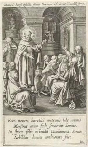 Theodore Galle naar een tekening van Pieter de Jode (I) en een ontwerp van Joannes Nys, Duiveluitdrijving door de heilige Dominicus (1610). De duivel heeft de gedaante aangenomen van een enorme kat.  (Rijksmuseum Amsterdam).