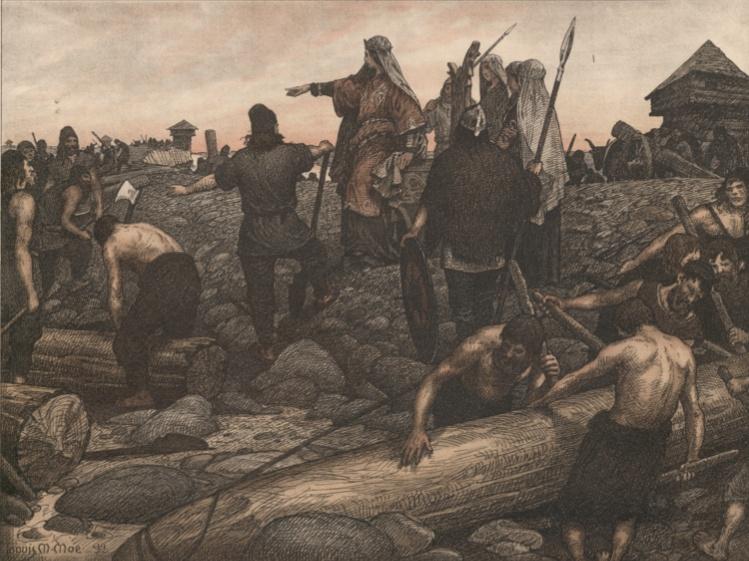 Een afbeelding van de mythe van Thyra, zij zou een opstand tegen de Germanen geleid hebben