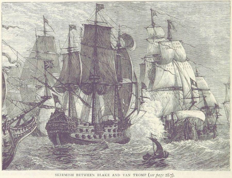 Verbeelding van de Slag bij Dover, in het Engels bekend als 'The Battle of Goodwin Sands'