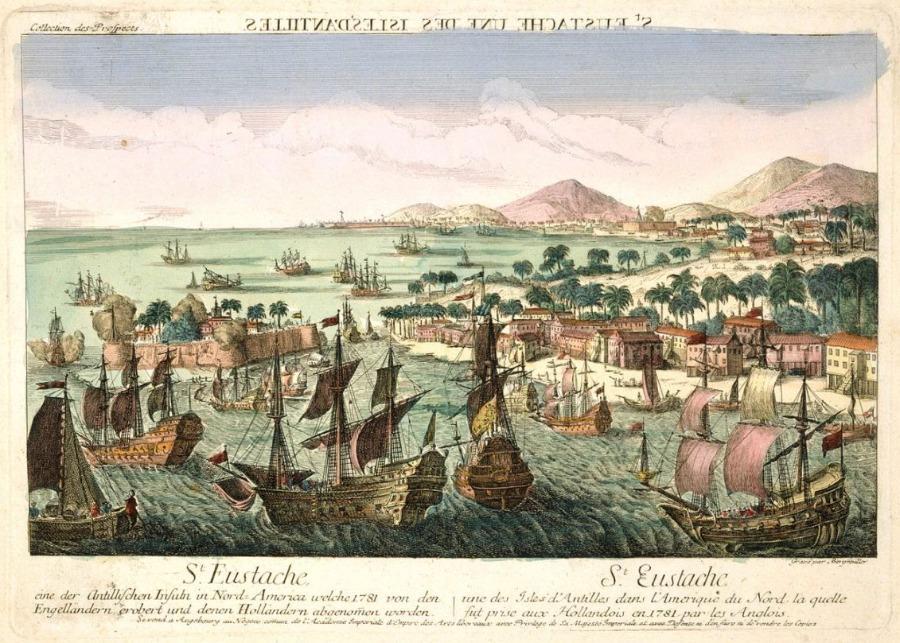 Gravure van de Britse verovering van Sint Eustatius - Johann Baptist Bergmüller