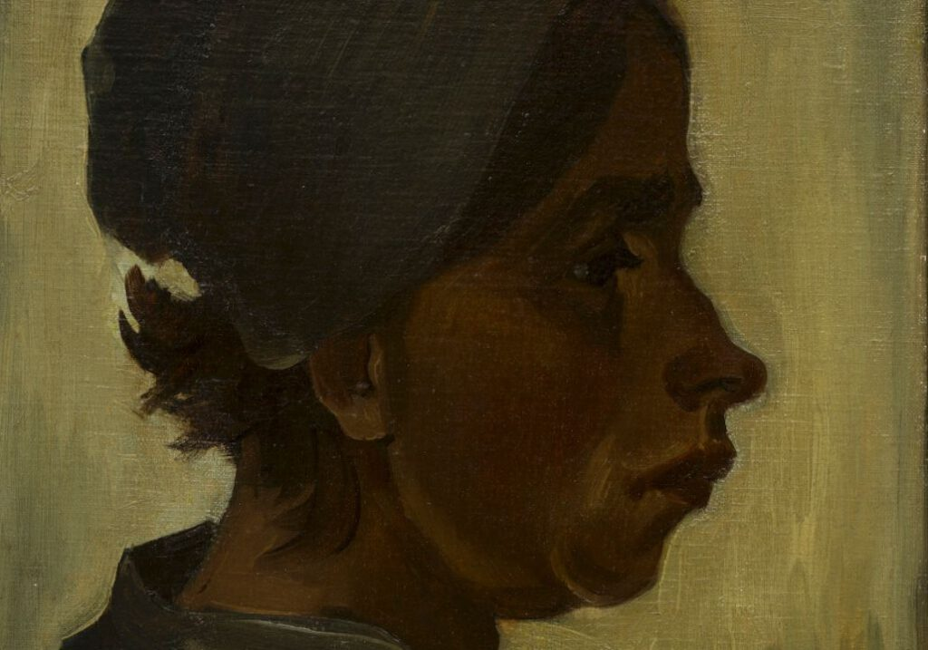 Kop van een vrouw - Vincent van Gogh - detail