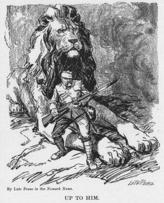 Tommy Atkins in een prent uit de Eerste Wereldoorlog