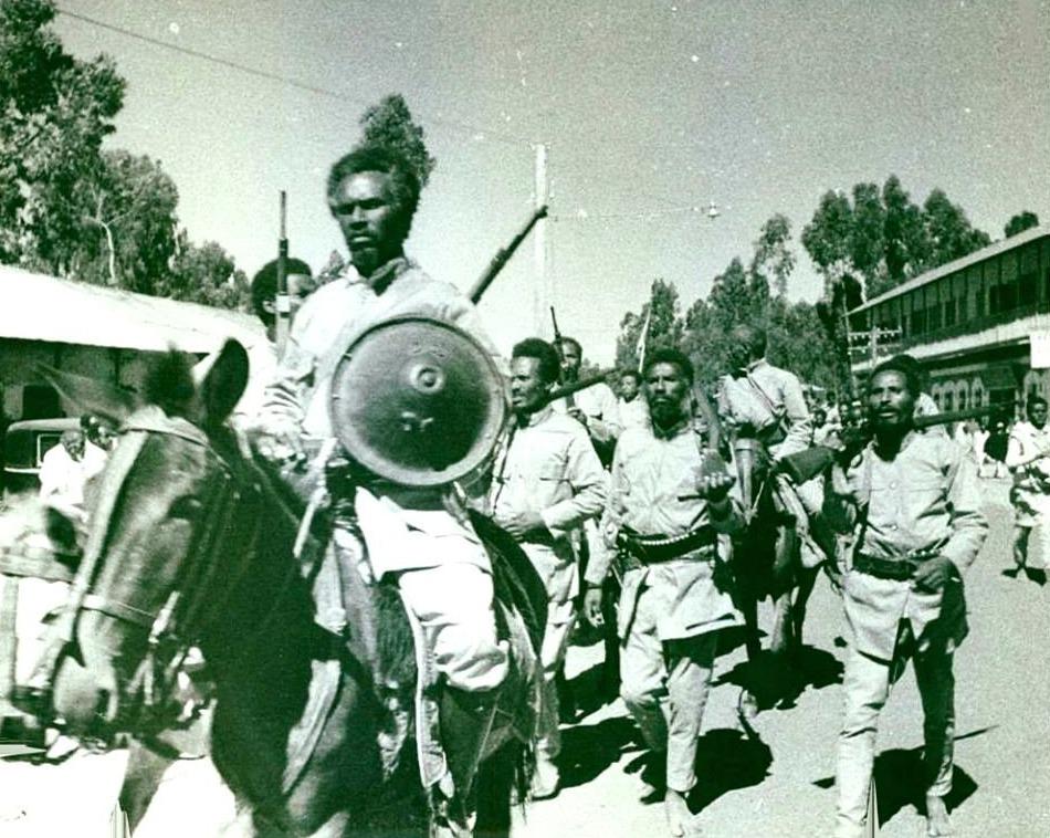 Ethiopische soldaten tijdens de Italiaans-Ethiopische Oorlog, 1935