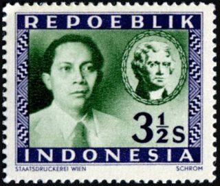 Soetan Sjahrir op een Indonesische postzegel uit 1947