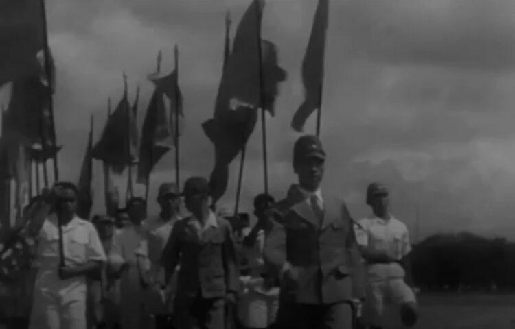 Still uit een van de Japanse propagandafilms