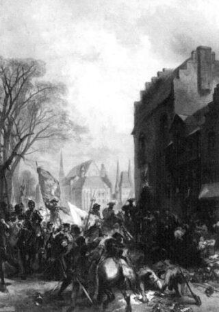 Maarten van Rossum en zijn Gelderse en Utrechtse soldaten brandschatten Den Haag, mei 1528