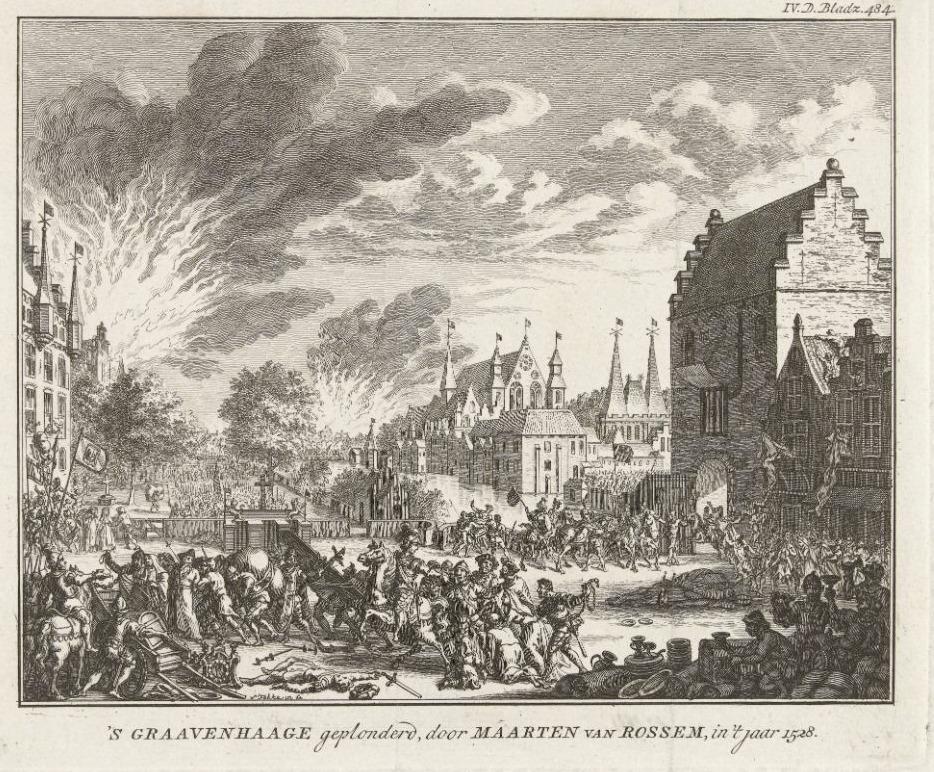 Den Haag geplunderd door Maarten van Rossum, 1528, Simon Fokke, 1750