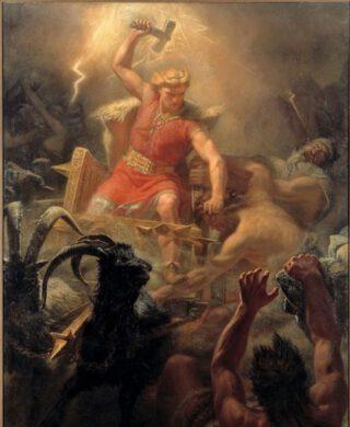 Thor / Donar op een schilderij van Mårten Eskil Winge, 1872