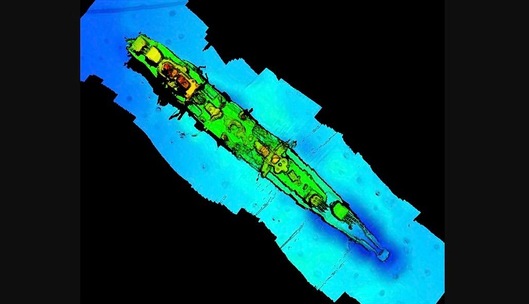 Sonarbeeld van de kruiser 'Karlsruhe'