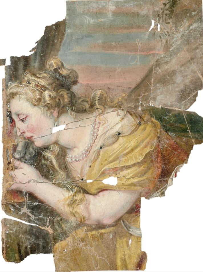 """Maria Magdalena: Fragment van de """"Kruisiging van Christus"""", Anton Willemssens invent Ao. 1656, van het verwoeste zijaltaar van de Paderborner Dom © Diözesanmuseum Paderborn, Foto: Ansgar Hoffmann"""