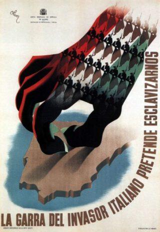 Propaganda-poster van de republikeinen tegen inmenging van de Italianen