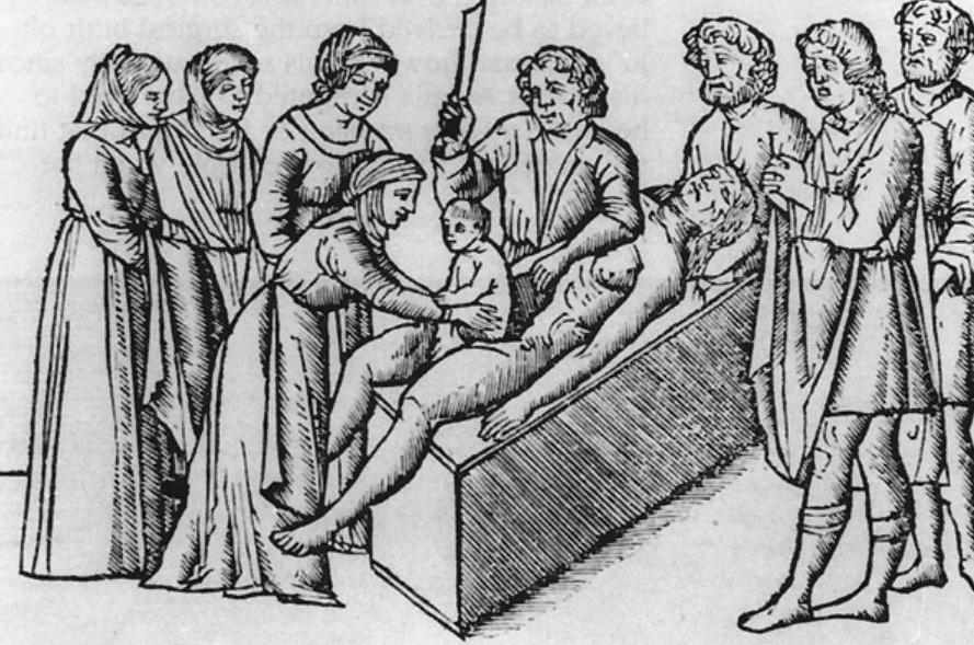 Verbeelding van de geboorte van Julius Caesar in een uitgave van Suetonius' De twaalf Caesars uit 1506