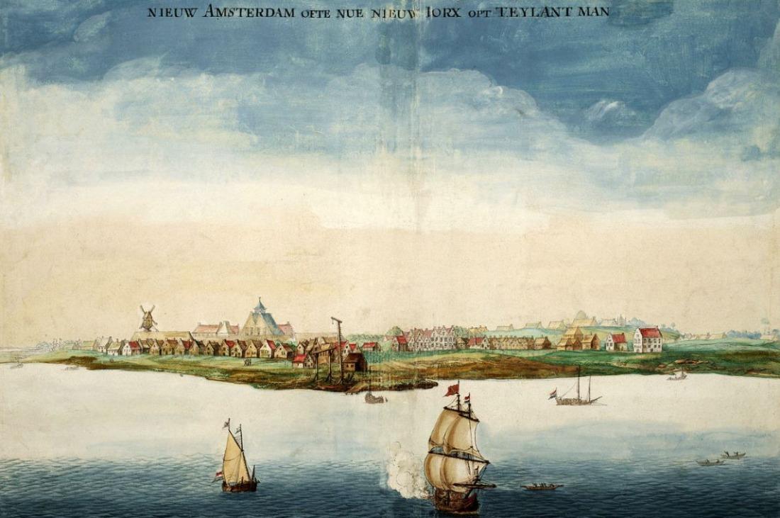 Gezicht op Nieuw-Amsterdam door Johannes Vingboons, 1664