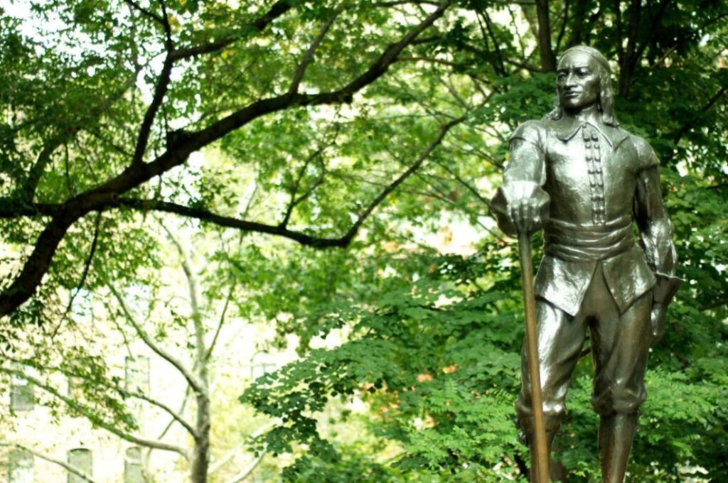 Standbeeld van de Nederlandse gouverneur-generaal op Stuyvesant Square in New York