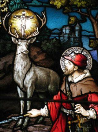De heilige Hubertus met zijn hert. Glas-in-lood-raam in Ottowa, 1898