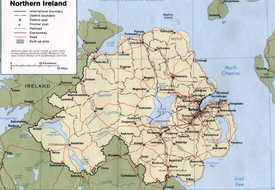 Kaart van Noord-Ierland