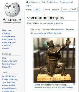 Engelstalige Wikipedia-pagina over 'Germanen'