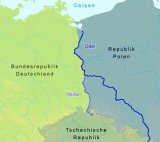 De rivieren Oder en Neisse, gezien op een moderne kaart van na de Duitse eenwording