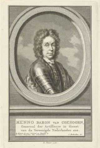 Portret van Menno van Coehoorn door Jacob Houbraken, naar een schilderij van Caspar Netscher