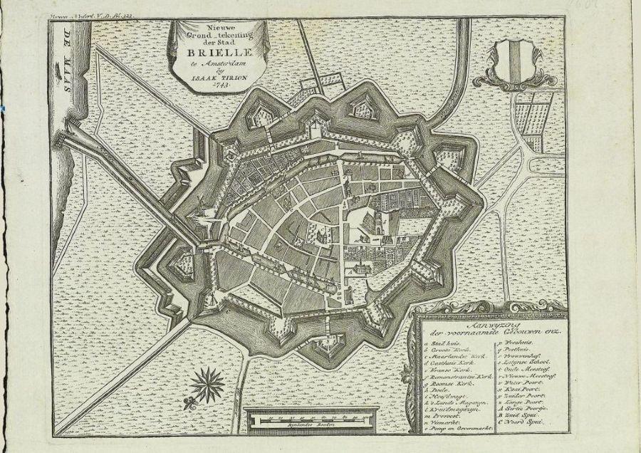 Kaart van de vesting Brielle - Tirion, 1743