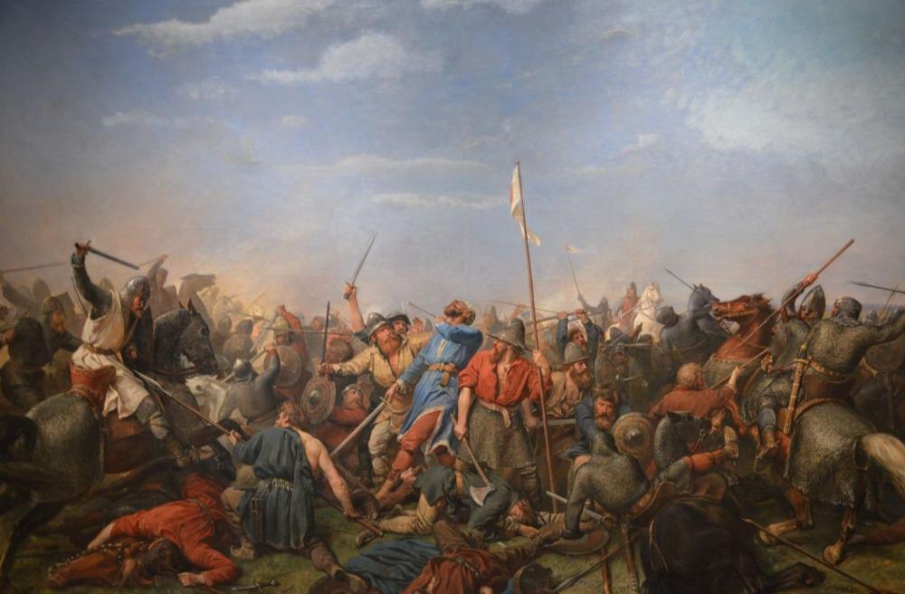 De Slag bij Stamford Bridge - Schilderij van Peter Nicolai Arbo