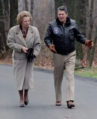 Margaret Thatcher en president Ronald Reagan in 1986
