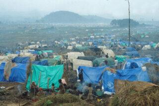 Rwandees vluchtelingenkamp in Oost-Zaïre
