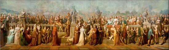 Livre d'Or (Antoine Fontaine, 1894). Dit 9 meter lange schilderij toont 91 bekende bezoekers van de thermen van Spa.