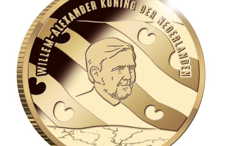 Koning Willem-Alexander met baard op de Woudagemaal-herdenkingsmunt