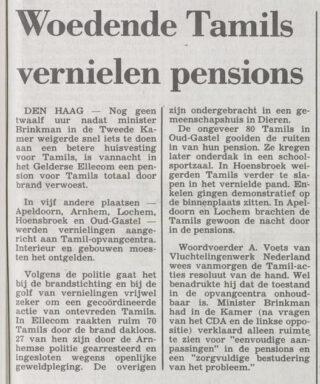 Bericht in 'Het vrije volk' van 24 april 1986 over de actie van de Tamils