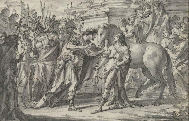 Koning Philippus II van Macedonië schenkt zijn zoon Alexander het paard Bucephalus. Bron: Rijksstudio Rijksmuseum