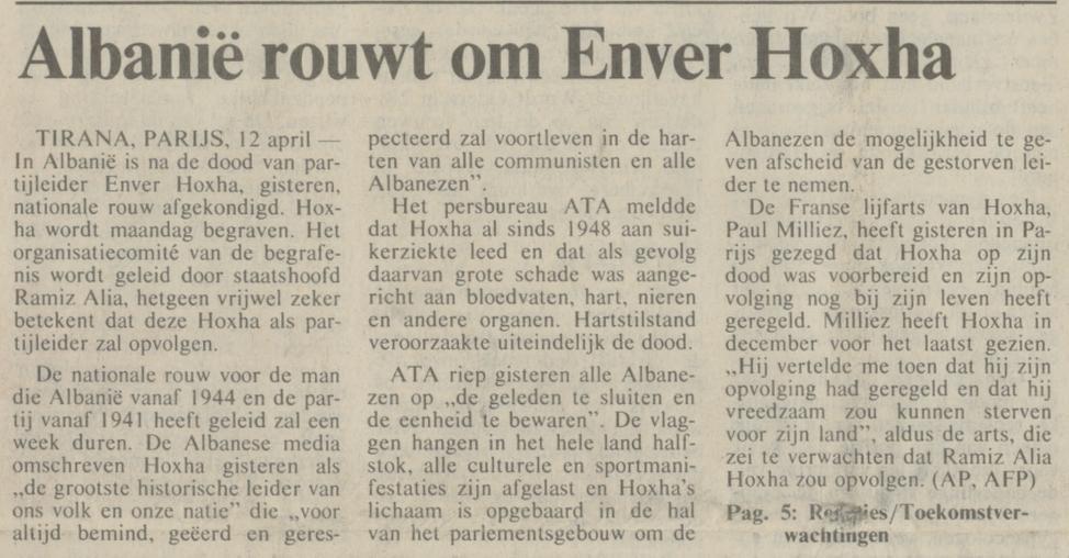 Bericht in het NRC Handelsblad van 12-04-1985 over de dood van Enver Hoxha