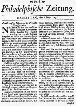 Duitse krant uit Philadelphia (1732) (Publiek domein/wiki)