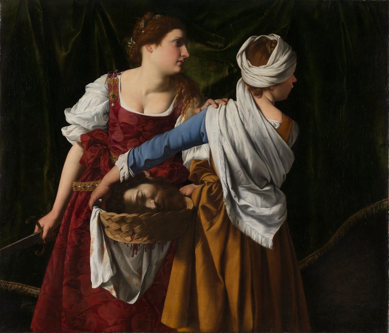 Judith en haar dienstmeid (ca. 1608). Een schilderij van vader Orazio Gentileschi