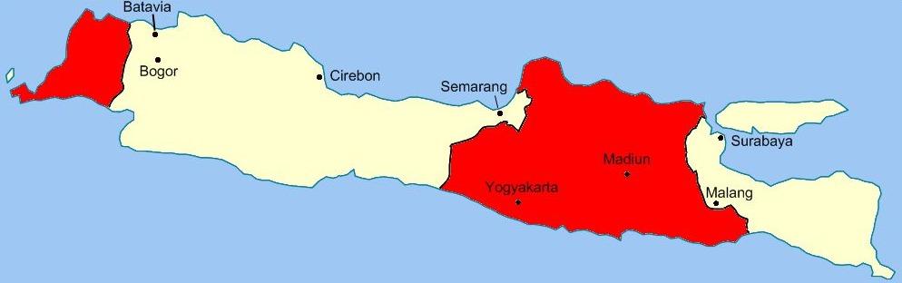 De wapenstilstandslijnen van de Renville-overeenkomst. Het gebied in rood werd beheerst door de Republik Indonesia, het gebied in het wit door de Nederlanders