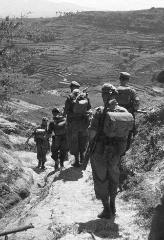 Nederlandse militairen tijdens de Indonesische Onafhankelijkheidsoorlog, maart 1949