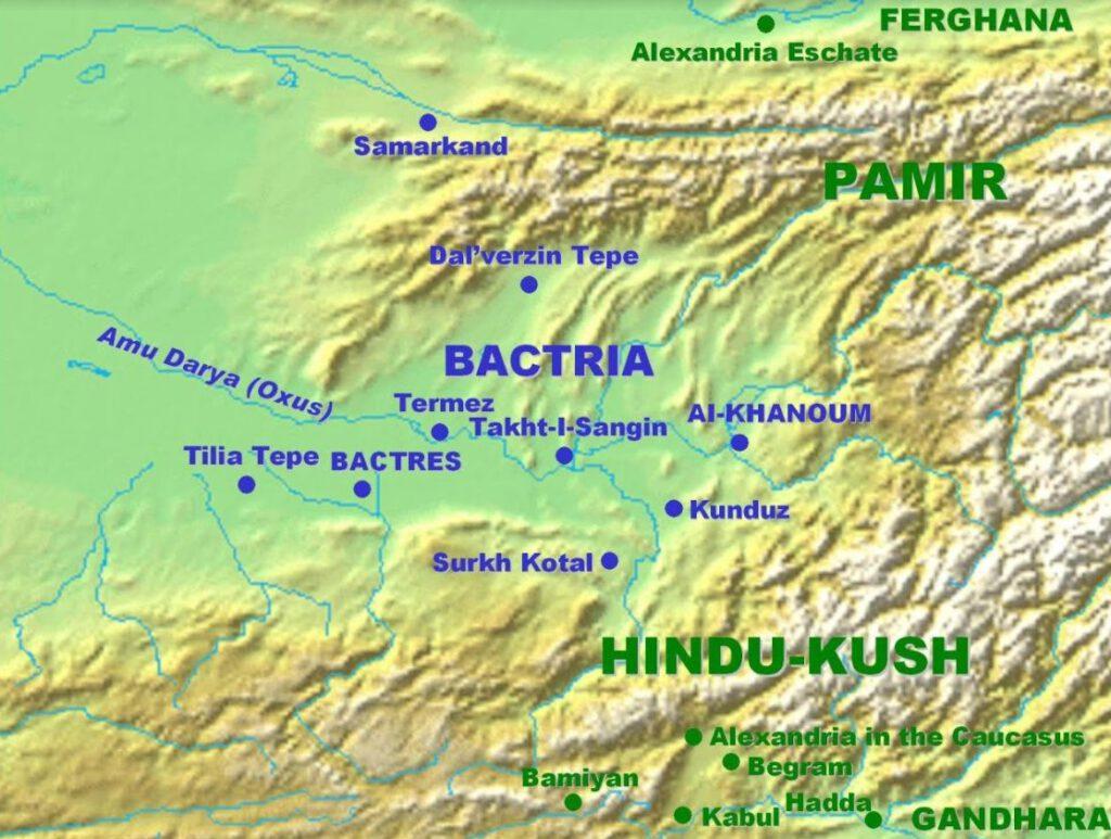 Kaart van de streek Bactrië met Aï-Khanoum in het Oosten en de regionale hoofdstad Baktra (Bactres) meer naar het Westen