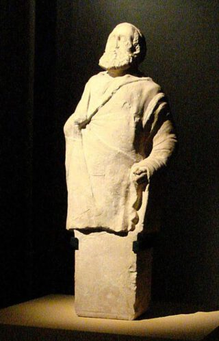 Sculptuur van een oude man/ filosoof uit Aï-Khanoum, 2de eeuw v.Chr., Musée Guimet