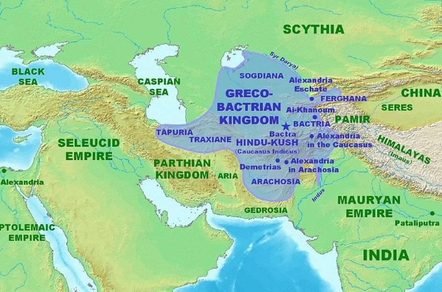 Kaart van het Grieks-Bactrische koninkrijk op zijn hoogtepunt rond 180 v.Chr.