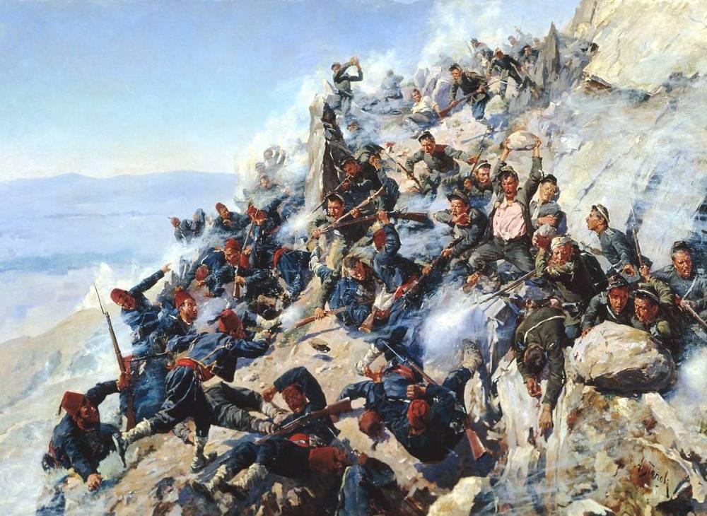 Russen en Bulgaren leveren strijd met Ottomaanse soldaten tijdens de Russisch-Turkse Oorlog van 1877-1878